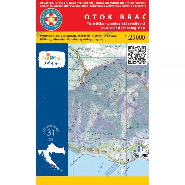 HGSS planinarska karta - zemljovid - Otok Brač