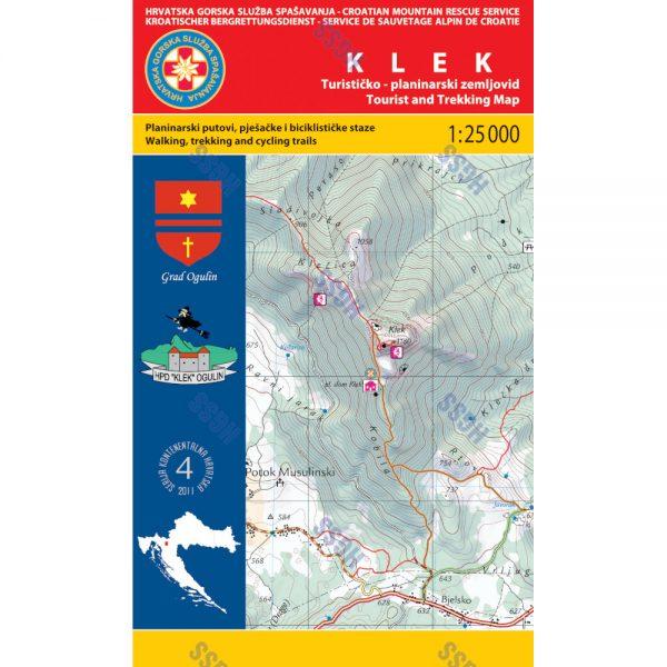 HGSS planinarska karta - zemljovid - Klek