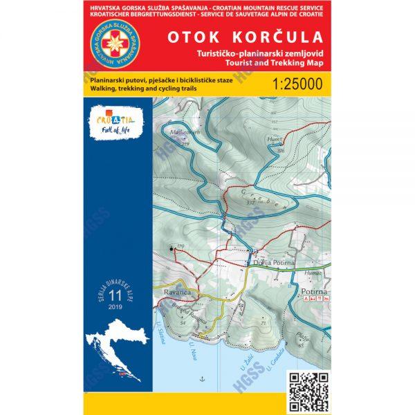 HGSS planinarska karta - zemljovid - Otok Korčula