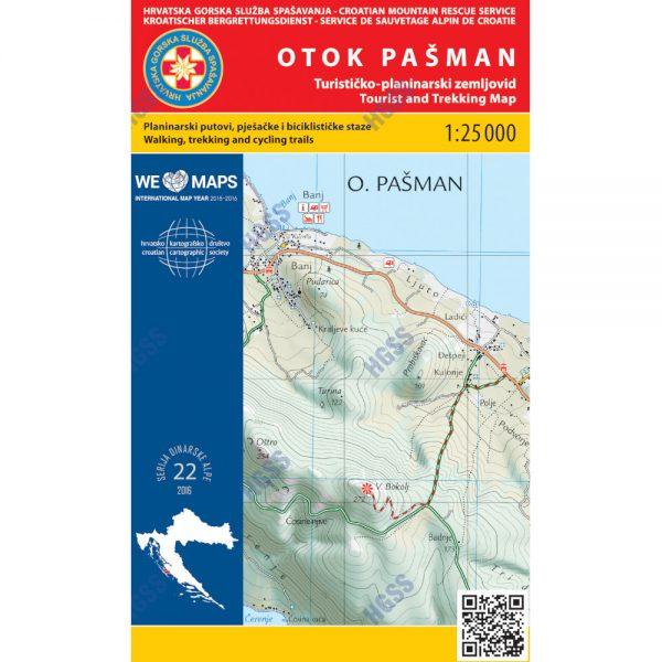 HGSS planinarska karta - zemljovid - Otok Pašman