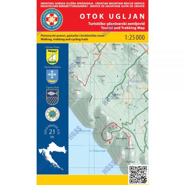 HGSS planinarska karta - zemljovid - Otok Ugljan