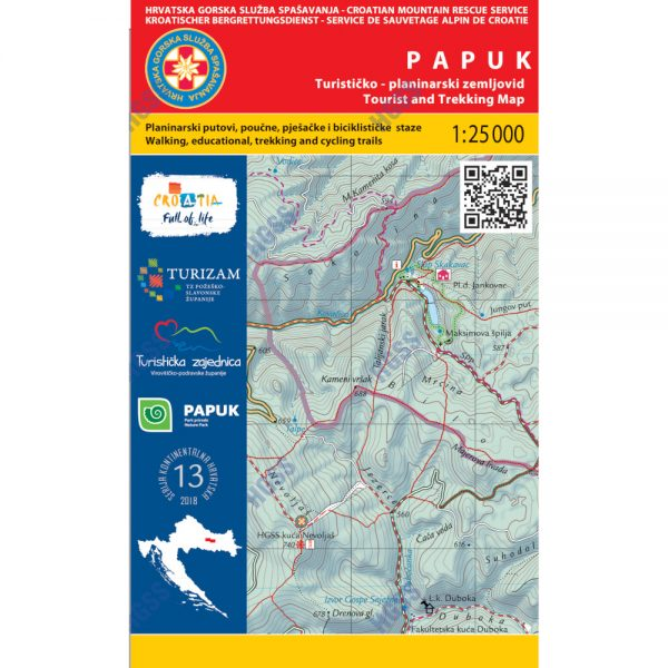 HGSS planinarska karta - zemljovid - Papuk