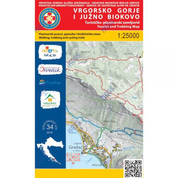 HGSS planinarska karta - zemljovid - Vrgorsko gorje i južno Biokovo